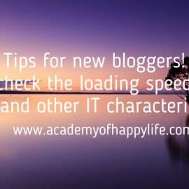 Tips for new bloggers! Ho to check the loading speed of your blog and other IT characteristics!